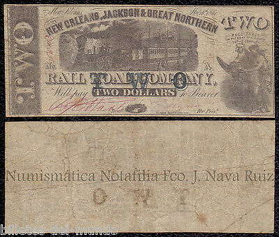 B-D-M USA Obsolete Currency 2 Dollars 1861 New Orleans Jackson & Great Northern