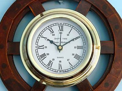 """Ship's Time Wood and Brass Ship Wheel Wall Clock 12"""""""