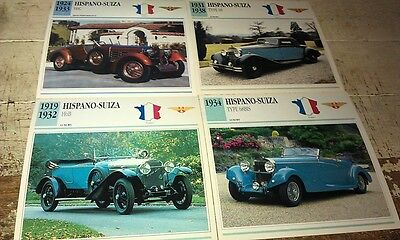 HISPANO SUIZA  Cars  Colour Collector Cards x 4