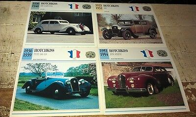HOTCHKISS Cars  Colour Collector Cards x 4