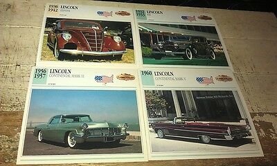 LINCOLN  Cars  Colour Collector Cards x 4
