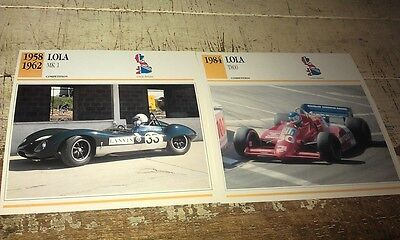 LOLA RACE  Cars  Colour Collector Cards x 2