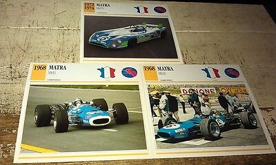 MATRA  RACE  Cars  Colour Collector Cards x 3