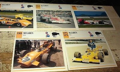 McLAREN RACE  Cars  Colour Collector Cards x 5
