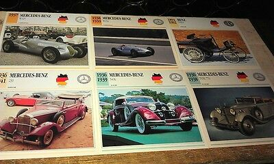MERCEDES BENZ  Cars  Colour Collector Cards x  11    PRE 1950