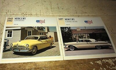 MERCURY Cars  Colour Collector Cards x 2
