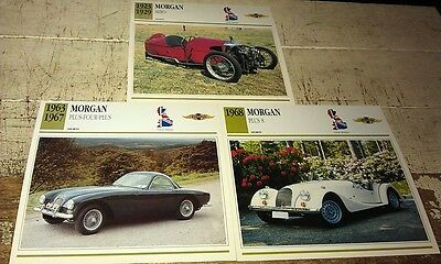 MORGAN  Cars  Colour Collector Cards x 3