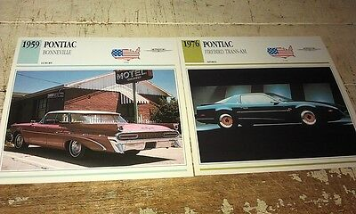 1959 PONTIAC & TRANS AM  Colour Collector Cards x 2