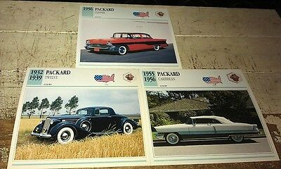 PACKARD  Cars  Colour Collector Cards x 3