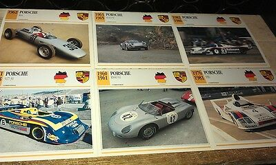PORSCHE RACE  Cars  Colour Collector Cards x 6