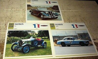 SALMSON Cars  Colour Collector Cards x 3