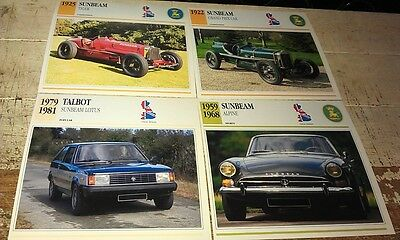 SUNBEAM  Cars  Colour Collector Cards x 4    - ALPINE etc