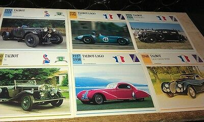 TALBOT & TALBOT LAGO Cars  Colour Collector Cards x  6