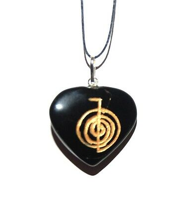 B GRADE Reiki Power Symbol on  Onyx Crystal Pendant Cho Ku Rei Self Confidence