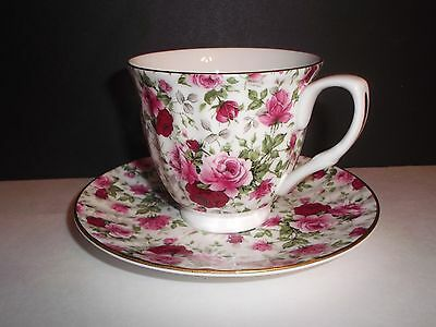 Staffordshire England MAYFAIR Bone China Tea Cup Saucer Red Pink Roses CHINTZ