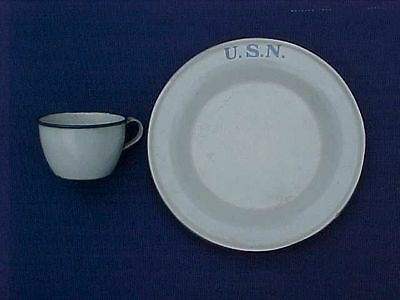 Original Scarce Pre Wwi / Span Am War Usn Marked Enamelware Plate And Cup
