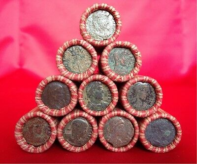 Window Wrapped Lincoln Wheat Penny Roll with HIGH GRADE ANCIENT ROMAN COIN End