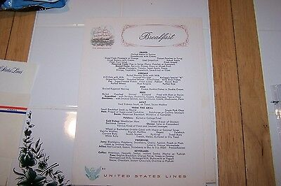 United States Lines Breakfast Menu B-11, Vintage and Original