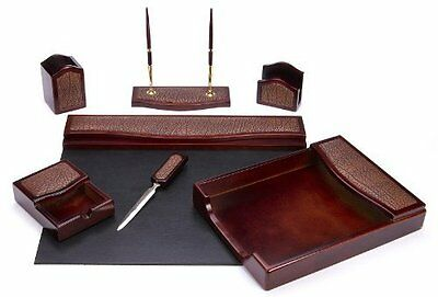 Majestic Goods Seven Piece Brown Mahogany Wood and PU Desk Set