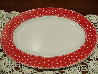222 FIFTH HOME CUPBOARD DINER RED WHITE Dots OVAL PLATTER  NEW