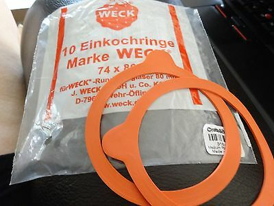 Weck (Qty=2 Units) Jar Gaskets 74 x 86 Made in Germany see description - Nice!