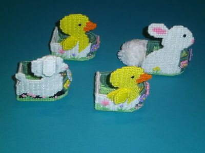 Happy Easter 4 Animals Plastic Canvas Egg/Candy Containers Duck Bunny Lamb
