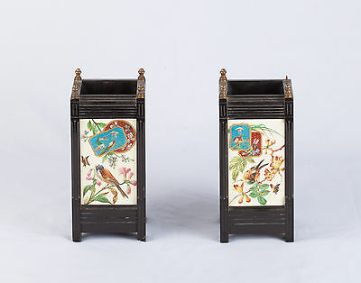 Pair of Antique Square Stone Decorative Urns with Handpainted Asian Motifs