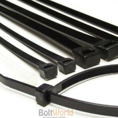 100 x STRONG HIGH QUALITY BLACK COLOUR NYLON PLASTIC CABLE TIES ZIP TIE WRAPS