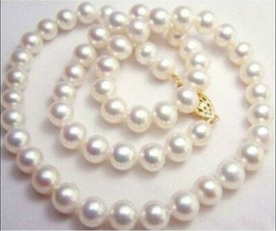 NEW  9-10MM NATURAL WHITE SOUTH SEA AAA+ PEARL NECKLACE 20 INCH 14k YELLOW GOLD