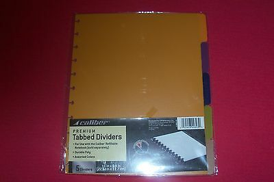 Caliber Premium Discbound TABBED Dividers 5 Color For 8.5 x 11 Caliber Notebook