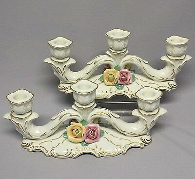 "11 1/2"" PAIR CAPODIMONTE TRIPLE CANDELABRA CANDLE HOLDERS Roses Flowers Old Mark"