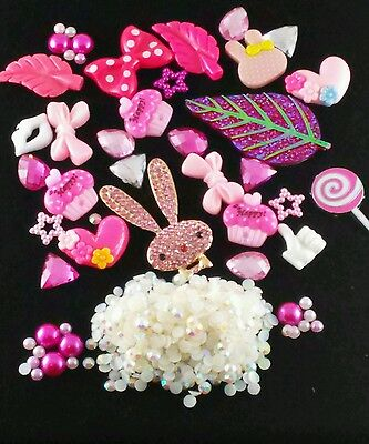 USA Seller DIY DECO Kit Cell Phone Case Pink Bunny Rabbit Rhinestones Pearls