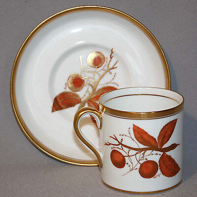 Vintage SPODE Demitasse Cup & Saucer Hand Painted M Edge Cherries w/ Gold