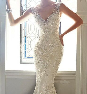 White Ivory Mermaid Wedding Dress Bridal Gown Custom Size 6 8 10 12 14 16 18 20