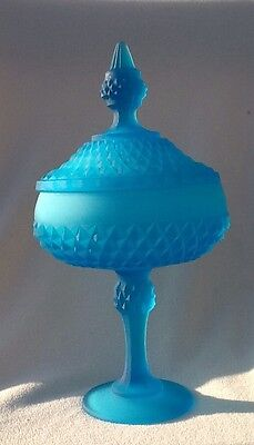 Indiana Glass Diamond Point Blue Frosted Candy Dish /Compote w Lid Free Shipping