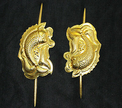 China's Ancient Handmade Miao Silver Gold-plated Hairpin Headdress fish pair