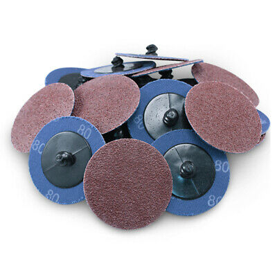 "100 Pack - 2"" 80 Grit A/O Quick Change Sanding Disc Black Hawk, Type R Roloc"