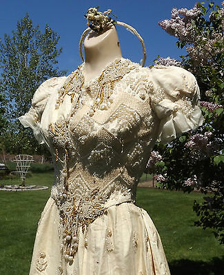 ANTIQUE EDWARDIAN ORIGINAL DRESS Pearls Beaded VTG ORNATE ELEGANT WEDDING GOWN