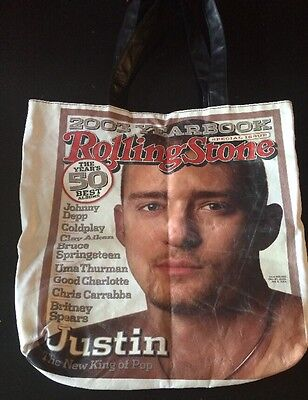 JUSTIN TIMBERLAKE 2003 Yearbook Special Issue ROLLING STONE Black Hand Bag Tote