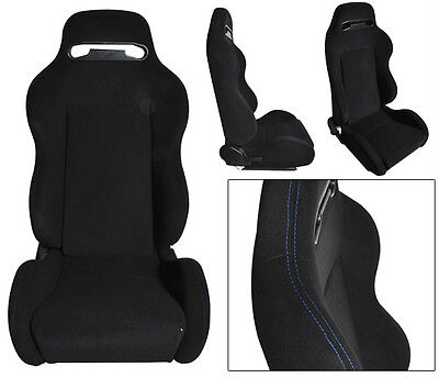 New 1 Pair Black Cloth + Blue Stitch Racing Seats All Ford ****