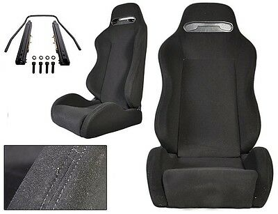 2 Black Cloth + Black Stitching Racing Seats For All Acura Driver & Passenger