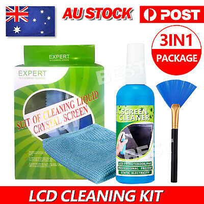 3in1 Laptop Cleaning Kit TV PC LED LCD Monitor Screen Plasma Cleaner Cloth Brush