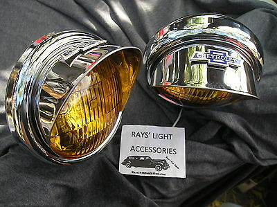 NEW PAIR SMALL VINTAGE STYLE AMBER COLOR FOG LIGHTS WITH VISORS 12-VOLTS ! ! B/T