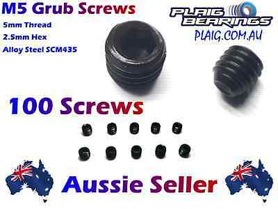 M5 Grub Screws Wholesale Pack of 100 - 5mm Thread, 5mm Length, 2.5mm Hex Alloy