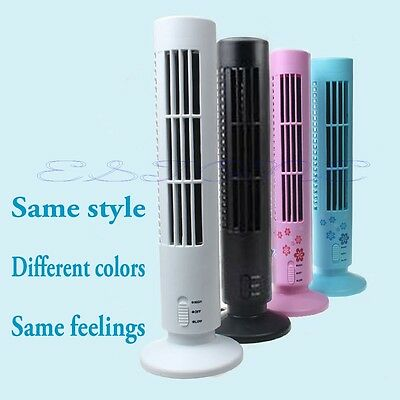 Mini USB Portable Tower Fan Cooling Bladeless Air Conditioner For PC Laptop Desk
