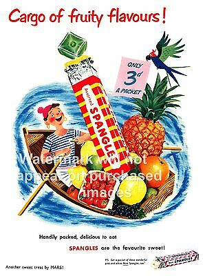 Spangles ,  Vintage sweet advert poster reproduction.