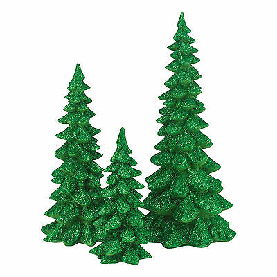 Dept 56 Green Holiday Resin Trees Set of 3 4047559 NEW Christmas Village 2015