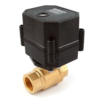 """3/8"""" Motorized Ball Valve Brass 110/115/120 to 240VAC 2-wire N/C Normally Closed"""