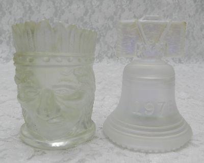 2pc ST CLAIR GLASS - INDIAN HEAD TOOTHPICK & BELL - CLEAR IRIDESCENT CARNIVAL