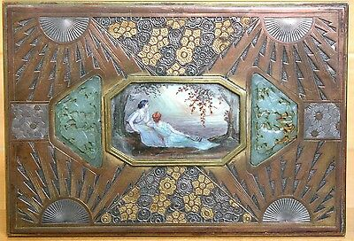 American Art Deco Jewelry Box Jade and Miniature Painting by F Pinto, WPA artist